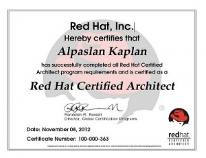 First Red Hat Certified Architect in Turkey